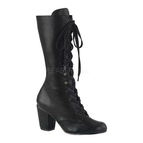 ff62a23df5e Demonia Women's Vivika 205 Lace-Up Mid-Calf Boot Black Vegan Leather