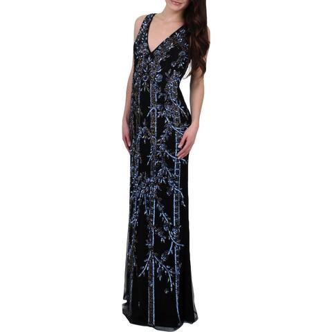Aidan Mattox Womens Evening Dress Beaded Sleeveless