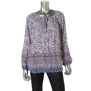 Lucky Brand Womens Banded Bottom Long Sleeves Peasant Top