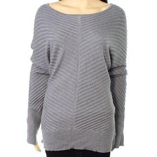 Alfani NEW Gray Womens Size XL Ribbed Long-Sleeve Boat Neck Sweater