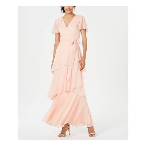 TAHARI Womens Coral Short Sleeve Maxi Shift Formal Dress Size 16
