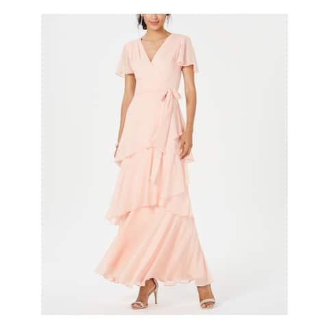 TAHARI Orange Short Sleeve Maxi Dress 4