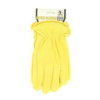 HDX Gloves Mens Work Deerskin Leather Comfort Yellow