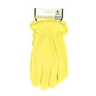 HDX Gloves Mens Work Deerskin Leather Comfort Yellow