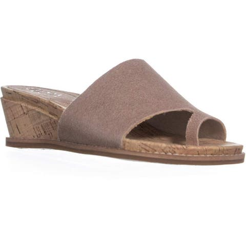 Lucca Lane Womens WYnona Leather Split Toe Casual Slide Sandals