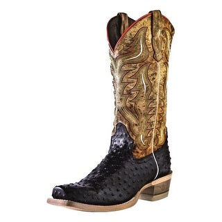 Outlaw Western Boots Mens Ostrich Print Narrow Square Black Tan 60001