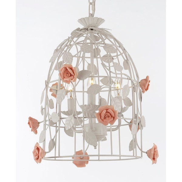 """Wrought Iron Floral """"Bird Cage"""" Flower Chandelier Lighting Pendant- Perfect for Kids' and Girls Bedrooms!"""