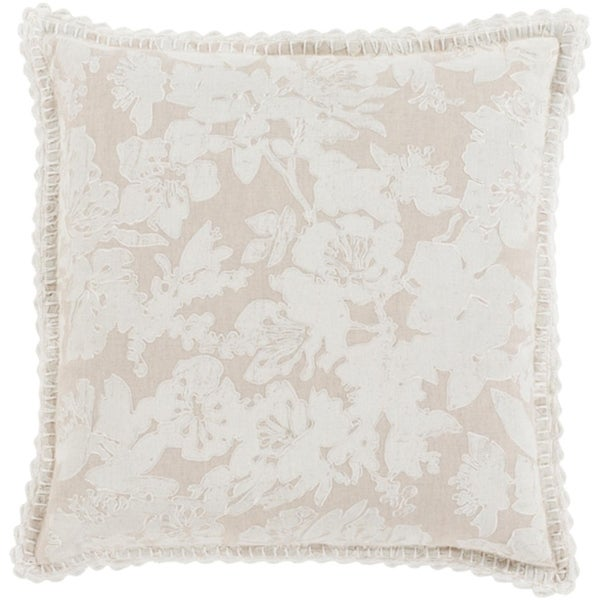 """22"""" Frosted White and Dove Gray Floral Woven Decorative Throw Pillow-Down Filler"""