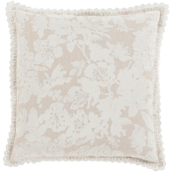 """22"""" Frosted White and Dove Gray Floral Woven Decorative Throw Pillow"""