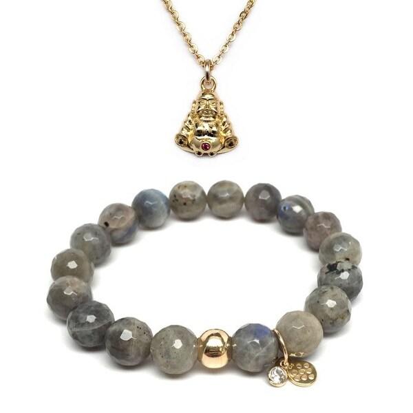 Grey Labradorite Bracelet & CZ Buddha Gold Charm Necklace Set