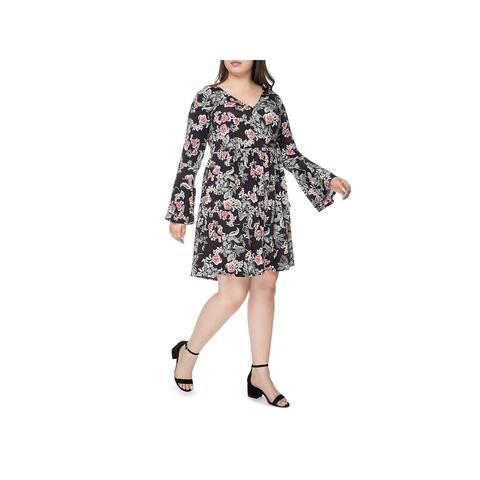 Bobeau Womens Plus Forrest Wrap Dress Bell Sleeves Floral