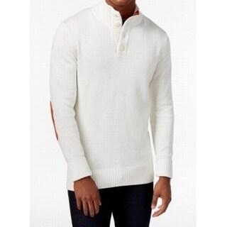 Sean John NEW White Mens Size Large L Turtleneck 1/2 Button Sweater