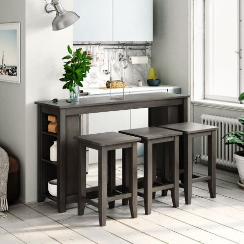 4PCS Counter Height Dining Table Set with 3 Stool&Storage Shelves-Gray