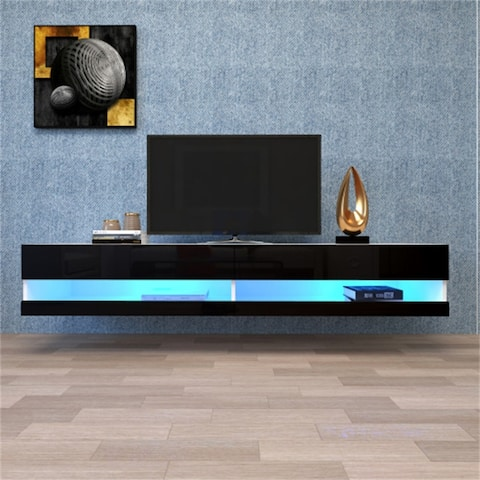 AOOLIVE Black TV Stand with 20 Color LEDs with storage,shelves