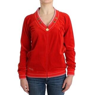 Cavalli Cavalli Red velvet zipup sweater