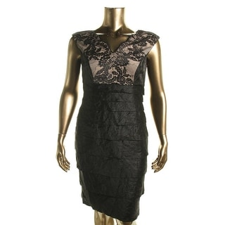 London Times Womens Ruffle Lace Cocktail Dress
