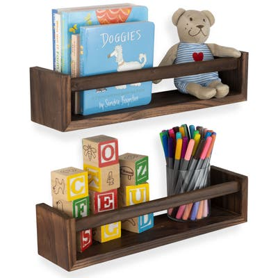 Wallniture Utah Wood Wall Shelves for Book and Toy Storage (Set of 2)