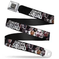 Suicide Squad Logo Full Color Black Gray Suicide Squad 9 Character Faces Seatbelt Belt