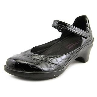 Aravon Maya Women 2A Round Toe Leather Black Mary Janes