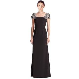 Basix Black Label Rhinestone Embellished Cap Sleeve Evening Gown Dress