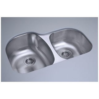 "Sterling 11723 Cinch 31-1/2"" Double Basin Undermount Stainless Steel Kitchen Sink with SilentShield"