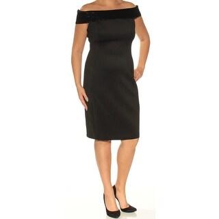 Womens Black Knee Length Sheath Dress Size: 12