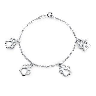 Bling Jewelry 925 Silver CZ Dangling Paw Print Animal Charm Bracelet 7in