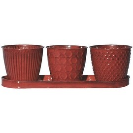 "Robert Allen 4"" Cayen-Red Planter Set"