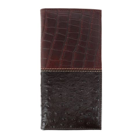 American Bison Men's Gator and Ostrich Print Rodeo Checkbook Wallet - one size