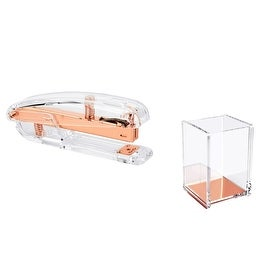 Insten 2-piece Set Clear/ Rose Gold Acrylic Stapler/ Pen Holder Stationary Combo Pack