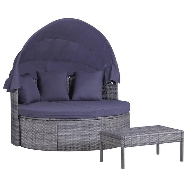 vidaXL 3 Piece Garden Lounge Set with Cushions & Pillows Rattan Gray