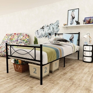 Bedroom Metal Bed Frame Platform Base Mattress Foundation Twin Multiple Colors