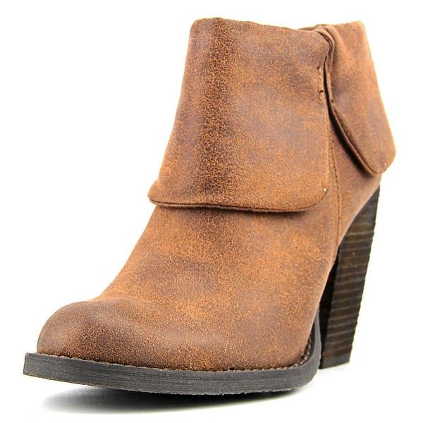 Luichiny Brush Up Women Round Toe Leather Tan Ankle Boot
