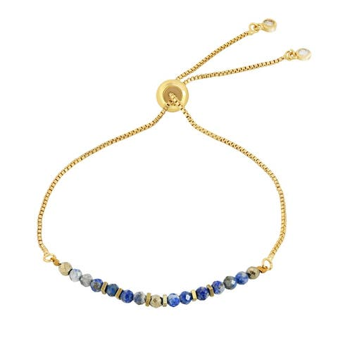 Handmade Radiant Facets Beads on Gold-Plated Brass Pull-String Bracelet (Thailand)