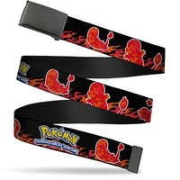 Blank Black  Buckle Pokemon Charmander Silhouette Poses Flames Black Web Belt