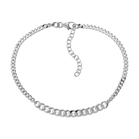 Handmade Casual Simple Sleek Curb Link Chain Sterling Silver Bracelet (Thailand)