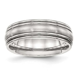 Stainless Steel Brushed and Polished Ridged 7 mm Band Ring - Sizes 7 - 13