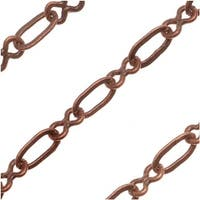 Antiqued Copper Plated Oval With Figure Eight Links Chain 3mm - Bulk By The Foot