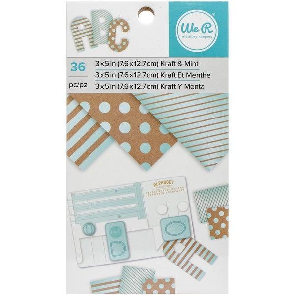 """We R Memory Keepers Paper Pad 3""""X5""""-Kraft W/Mint Foil, 36/Pkg"""