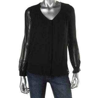 Diane Von Furstenberg Womens Silk Pleated Button-Down Top
