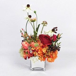 G Home Collection Luxury Orange Red Secret Garden Flower Arrangement - Green