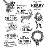 "Tim Holtz Cling Stamps 7""X8.5""-Festive Overlay"
