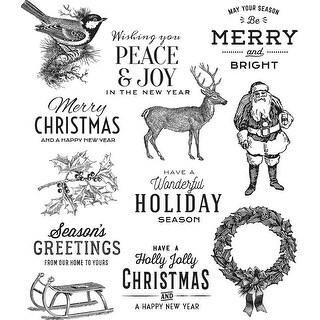 """Tim Holtz Cling Stamps 7""""X8.5""""-Festive Overlay"""