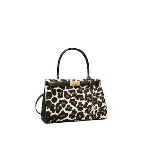 TORY BURCH Women's Black Leopard Print Leather Single Strap Handbag Purse