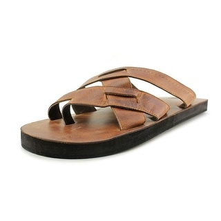 29 Porter Rd George Men Open Toe Leather Tan Slides Sandal