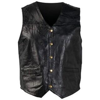 Giovanni Navarre® Italian Stone Design Genuine Leather Vest - Large