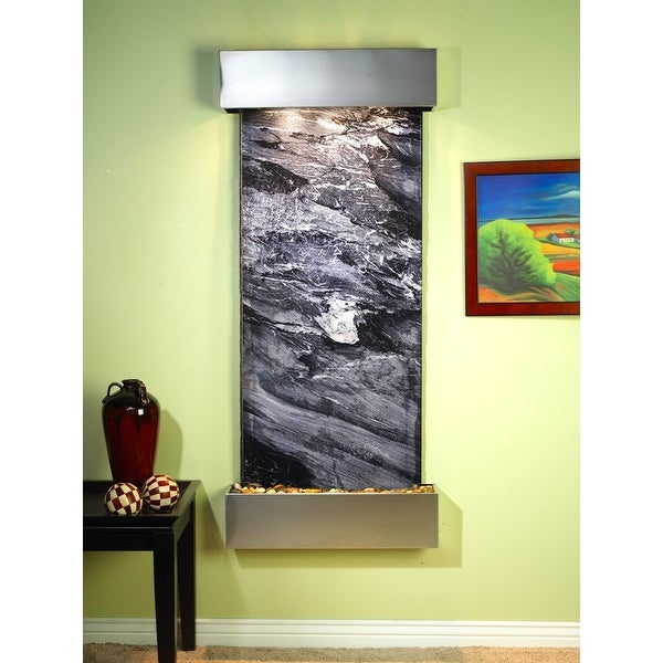 Adagio Inspiration Falls Fountain w/ Black Spider Marble in Stainless Steel Fini