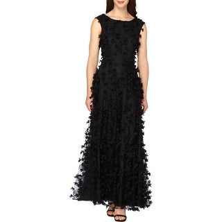 Tahari ASL Womens Formal Dress Embroidered A-Line - 8