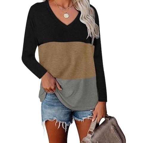 V-Neck Long Sleeve T-Shirt Tunics Top