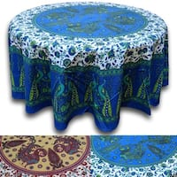 Cotton Peacock Floral Tablecloth Round Blue Green Red Tan - 72 Inches